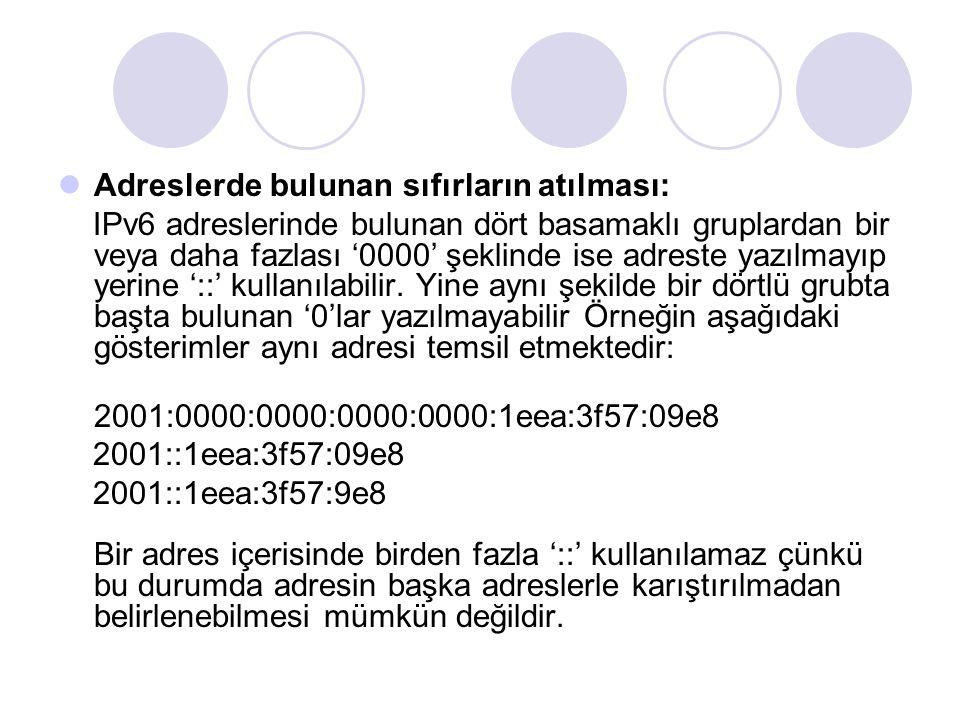 Adreslerde bulunan sıfırların atılması: IPv6 adreslerinde bulunan dört basamaklı gruplardan bir veya daha fazlası '0000' şeklinde ise adreste yazılmay