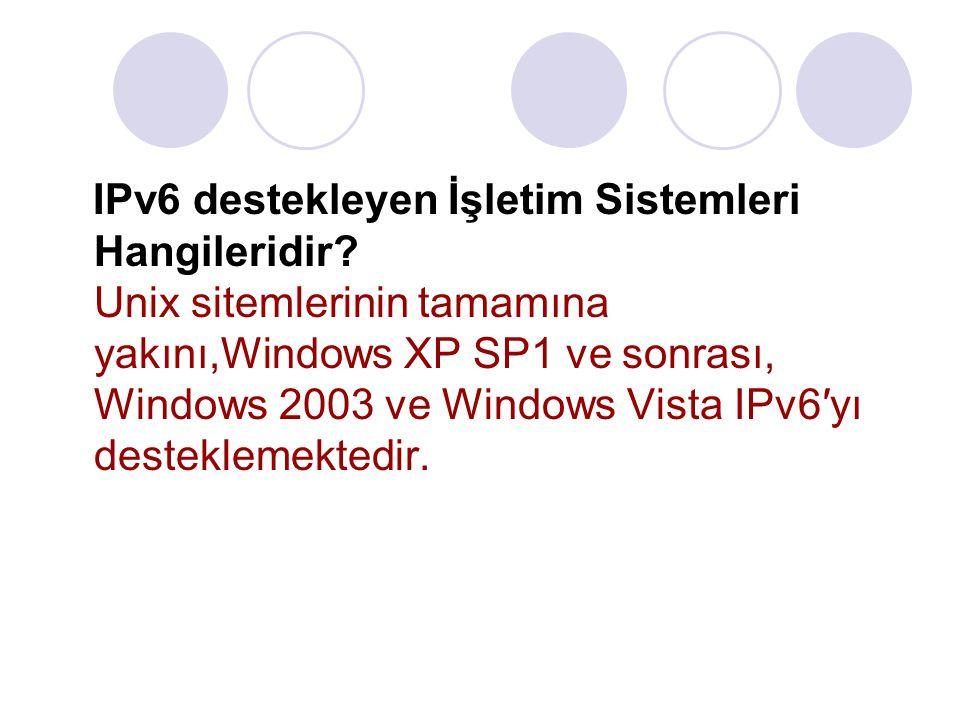 IPv6 destekleyen İşletim Sistemleri Hangileridir? Unix sitemlerinin tamamına yakını,Windows XP SP1 ve sonrası, Windows 2003 ve Windows Vista IPv6′yı d