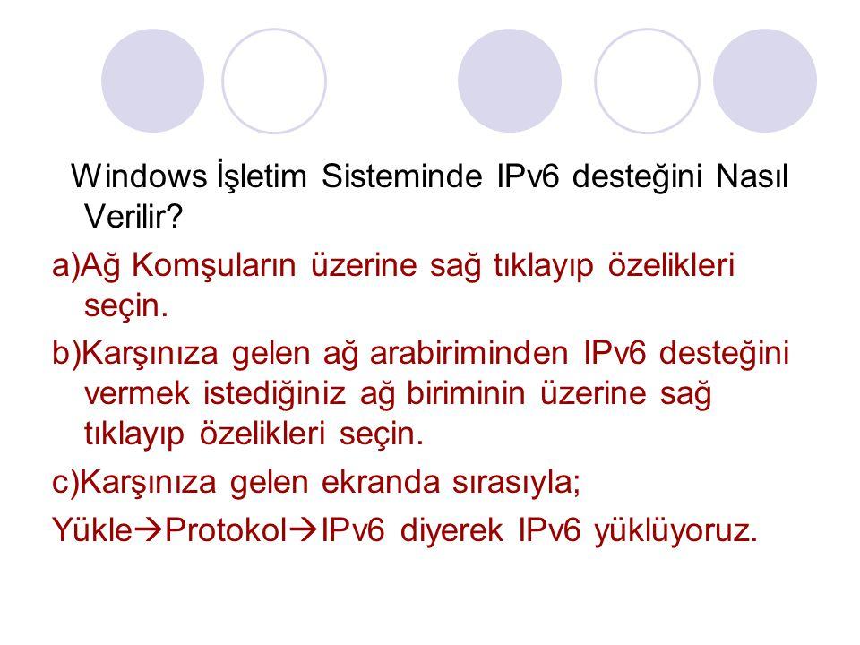 Windows İşletim Sisteminde IPv6 desteğini Nasıl Verilir? a)Ağ Komşuların üzerine sağ tıklayıp özelikleri seçin. b)Karşınıza gelen ağ arabiriminden IPv
