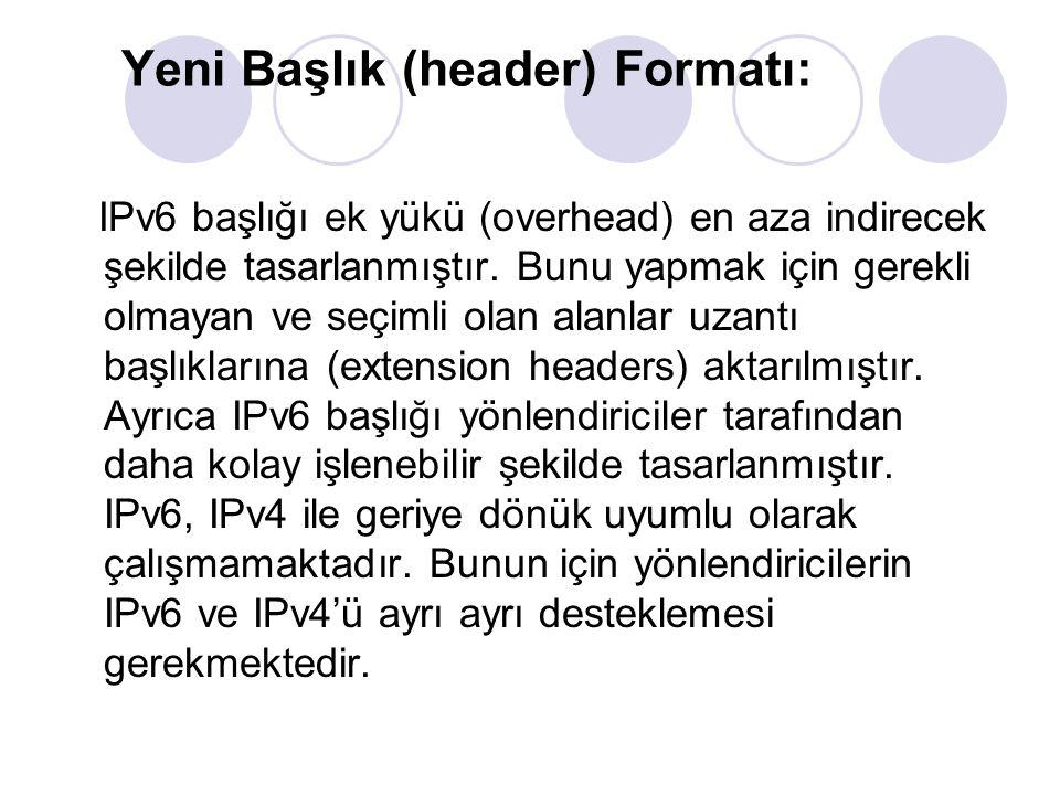 Yeni Başlık (header) Formatı: IPv6 başlığı ek yükü (overhead) en aza indirecek şekilde tasarlanmıştır. Bunu yapmak için gerekli olmayan ve seçimli ola