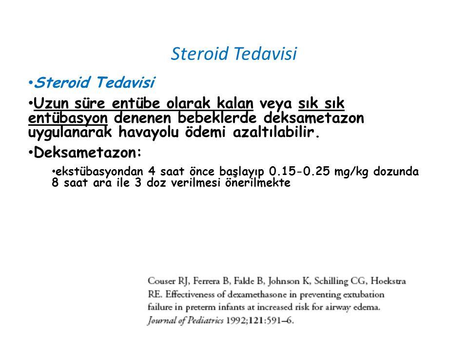 Steroid Tedavisi Uzun süre entübe olarak kalan veya sık sık entübasyon denenen bebeklerde deksametazon uygulanarak havayolu ödemi azaltılabilir. Deksa