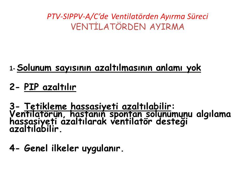 PTV-SIPPV-A/C'de Ventilatörden Ayırma Süreci VENTİLATÖRDEN AYIRMA 1- Solunum sayısının azaltılmasının anlamı yok 2- PIP azaltılır 3- Tetikleme hassasi
