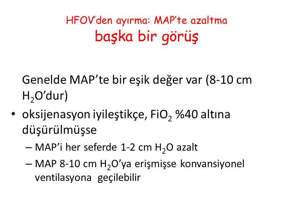 HFOV'den ayırma: MAP'te azaltma başka bir görüş Genelde MAP'te bir eşik değer var (8-10 cm H 2 O'dur) oksijenasyon iyileştikçe, FiO 2 %40 altına düşür
