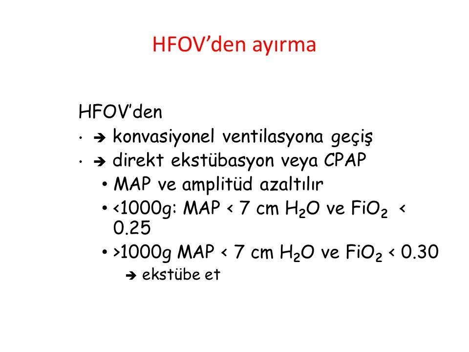 HFOV'den ayırma HFOV'den  konvasiyonel ventilasyona geçiş  direkt ekstübasyon veya CPAP MAP ve amplitüd azaltılır <1000g: MAP < 7 cm H 2 O ve FiO 2