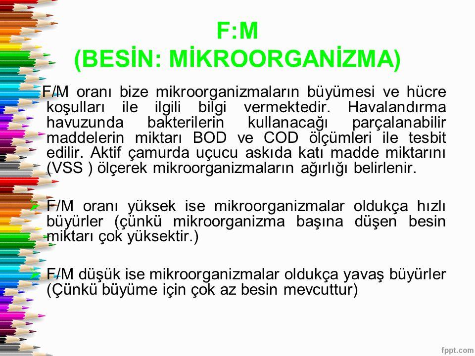 F:M (BESİN: MİKROORGANİZMA) F/M oranı bize mikroorganizmaların büyümesi ve hücre koşulları ile ilgili bilgi vermektedir. Havalandırma havuzunda bakter