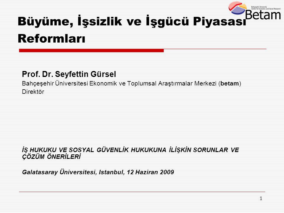 1 Büyüme, İşsizlik ve İşgücü Piyasası Reformları Prof. Dr. Seyfettin Gürsel Bahçeşehir Üniversitesi Ekonomik ve Toplumsal Araştırmalar Merkezi (betam)