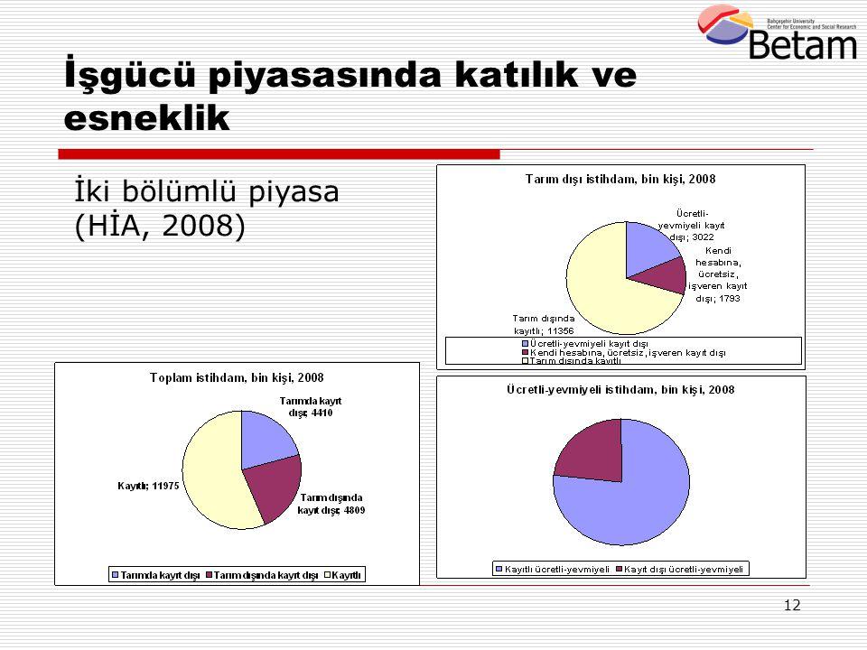 12 İşgücü piyasasında katılık ve esneklik İki bölümlü piyasa (HİA, 2008)