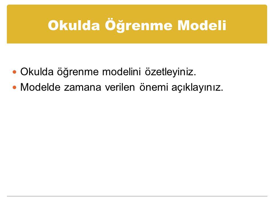 Okulda Öğrenme Modeli Okulda öğrenme modelini özetleyiniz. Modelde zamana verilen önemi açıklayınız.