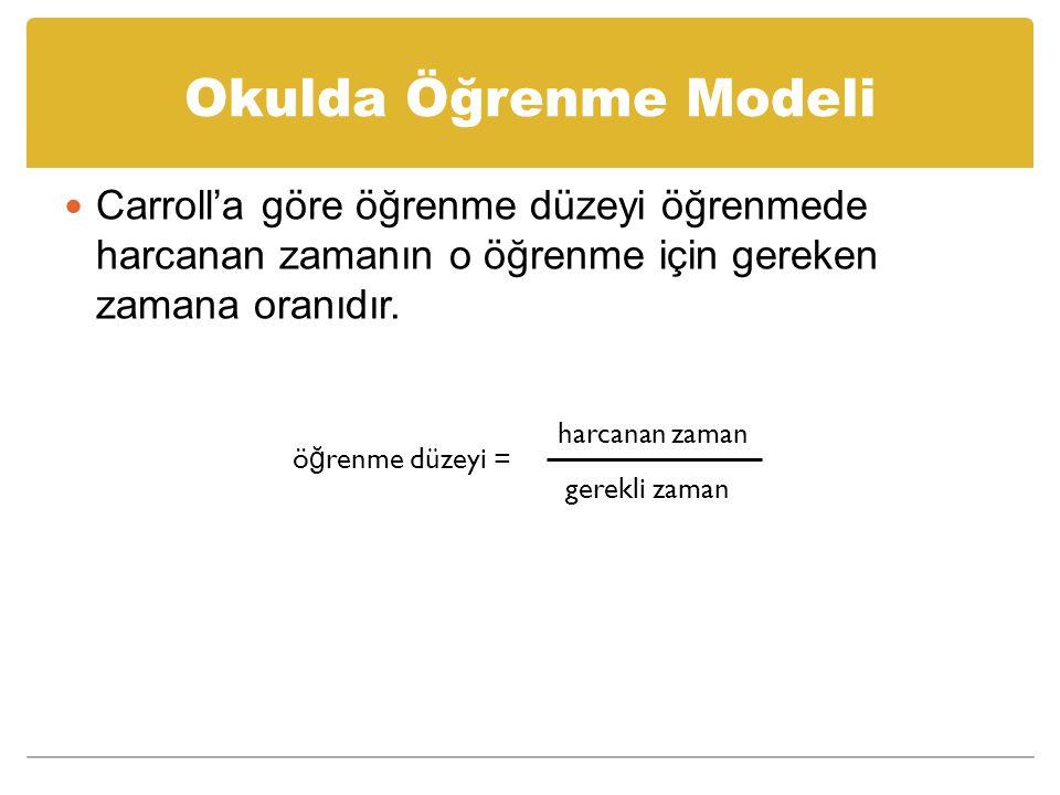 Okulda Öğrenme Modeli Modelin, hepsi de zamanla ilişkilendirilebilen beş temel ögesi bulunmaktadır: 1.