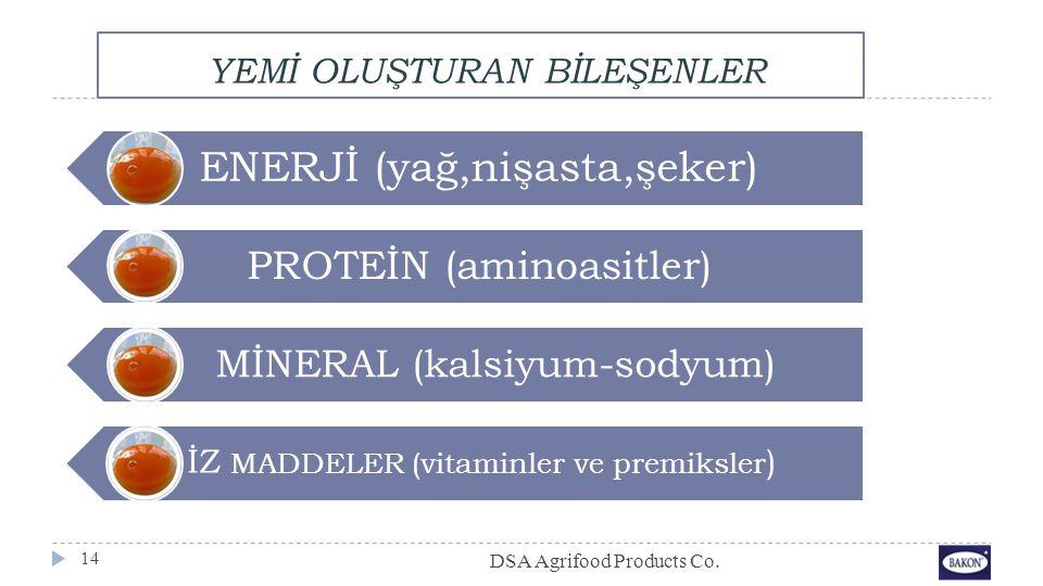 YEMİ OLUŞTURAN BİLEŞENLER 14 ENERJİ (yağ,nişasta,şeker) PROTEİN (aminoasitler) MİNERAL (kalsiyum-sodyum) İZ MADDELER (vitaminler ve premiksler ) DSA A