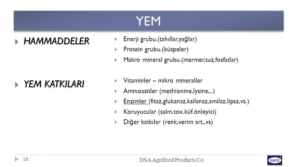 YEM  HAMMADDELER  YEM KATKILARI  Enerji grubu.(tahıllar,ya ğ lar)  Protein grubu.(küspeler)  Makro mineral grubu.(mermer,tuz,fosfatlar)  Vitamin