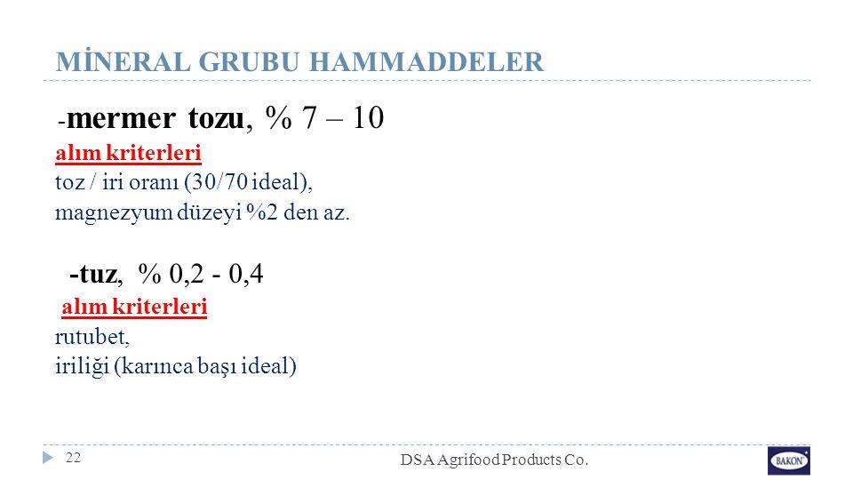 22 MİNERAL GRUBU HAMMADDELER - mermer tozu, % 7 – 10 alım kriterleri toz / iri oranı (30/70 ideal), magnezyum düzeyi %2 den az. -tuz, % 0,2 - 0,4 alım