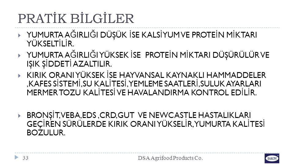 PRATİK BİLGİLER DSA Agrifood Products Co.33  YUMURTA A Ğ IRLI Ğ I DÜŞÜK İ SE KALS İ YUM VE PROTE İ N M İ KTARI YÜKSELT İ L İ R.  YUMURTA A Ğ IRLI Ğ