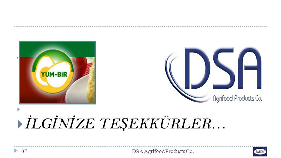 DSA Agrifood Products Co.37,   İ LG İ N İ ZE TE Ş EKKÜRLER…