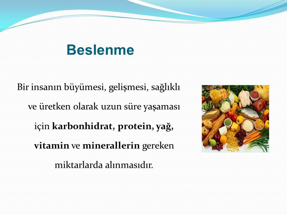 B eslenme Besinler içerdikleri protein, yağ, karbonhidrat, vitamin ve minerallere göre belli gruplara ayrılırlar.