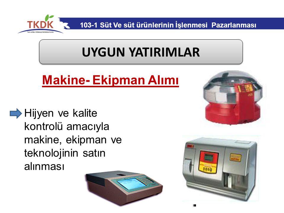 UYGUN YATIRIMLAR Makine- Ekipman Alımı Hijyen ve kalite kontrolü amacıyla makine, ekipman ve teknolojinin satın alınması 103-1 Süt Ve süt ürünlerinin
