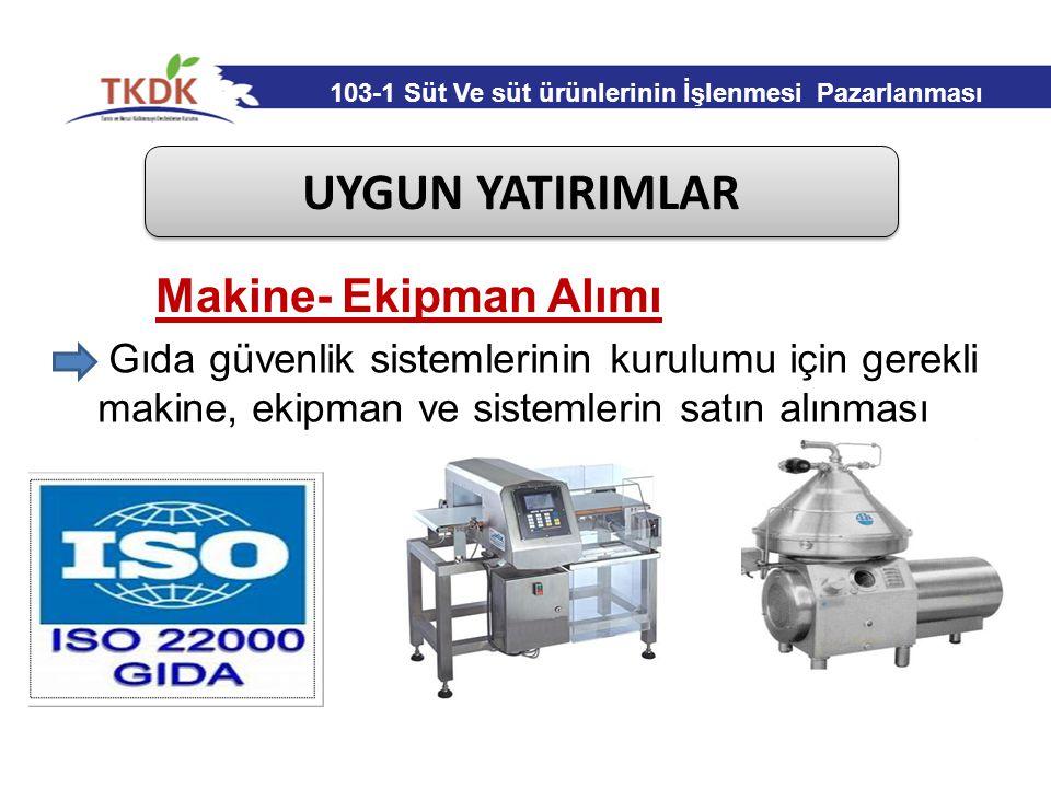 UYGUN YATIRIMLAR Makine- Ekipman Alımı Gıda güvenlik sistemlerinin kurulumu için gerekli makine, ekipman ve sistemlerin satın alınması 103-1 Süt Ve sü