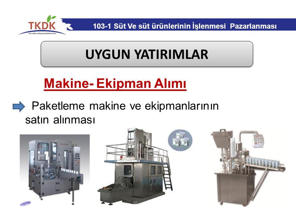 UYGUN YATIRIMLAR Paketleme makine ve ekipmanlarının satın alınması Makine- Ekipman Alımı 103-1 Süt Ve süt ürünlerinin İşlenmesi Pazarlanması