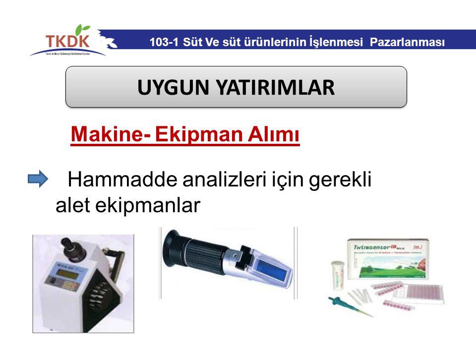 UYGUN YATIRIMLAR Hammadde analizleri için gerekli alet ekipmanlar Makine- Ekipman Alımı 103-1 Süt Ve süt ürünlerinin İşlenmesi Pazarlanması