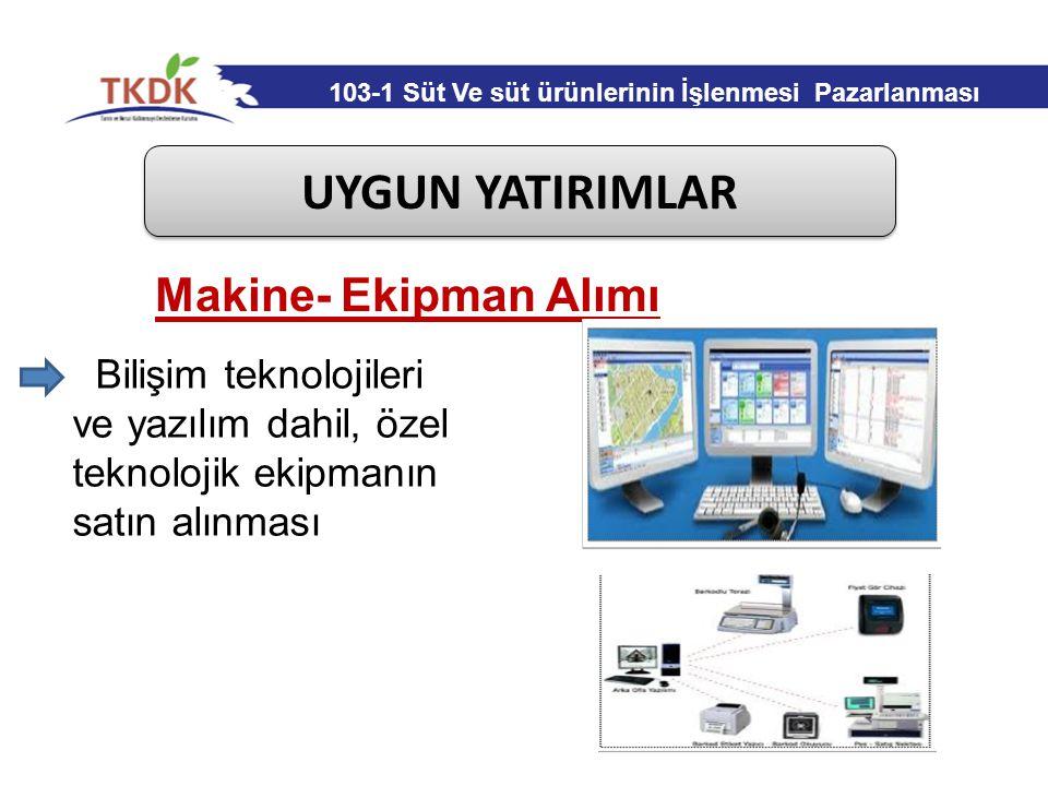 UYGUN YATIRIMLAR Bilişim teknolojileri ve yazılım dahil, özel teknolojik ekipmanın satın alınması Makine- Ekipman Alımı 103-1 Süt Ve süt ürünlerinin İ