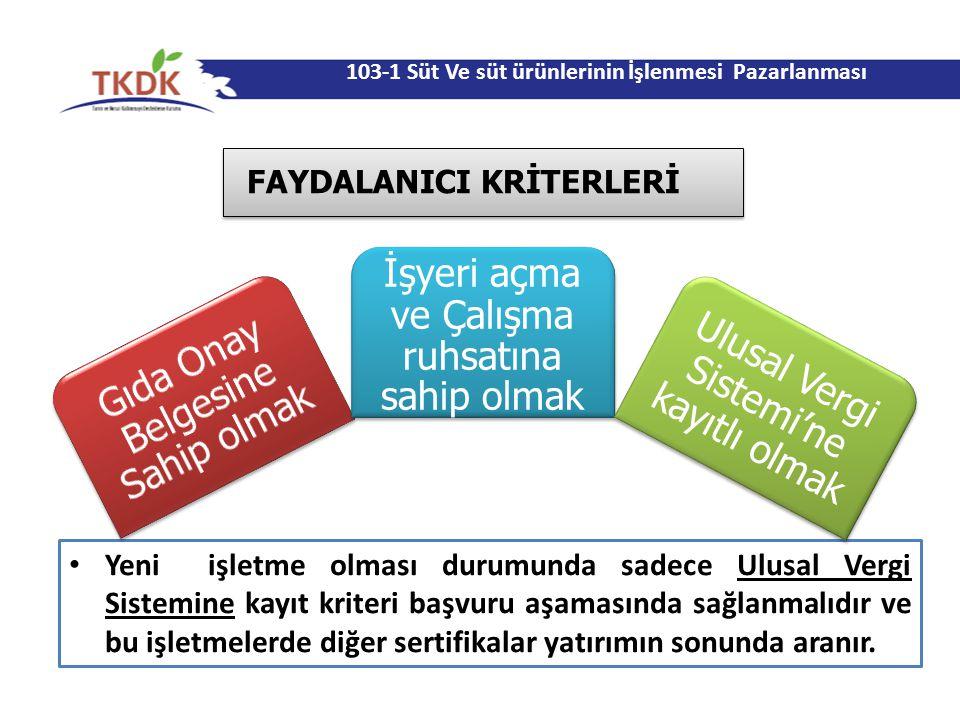 103-1 Süt Ve süt ürünlerinin İşlenmesi Pazarlanması FAYDALANICI KRİTERLERİ Yeni işletme olması durumunda sadece Ulusal Vergi Sistemine kayıt kriteri b