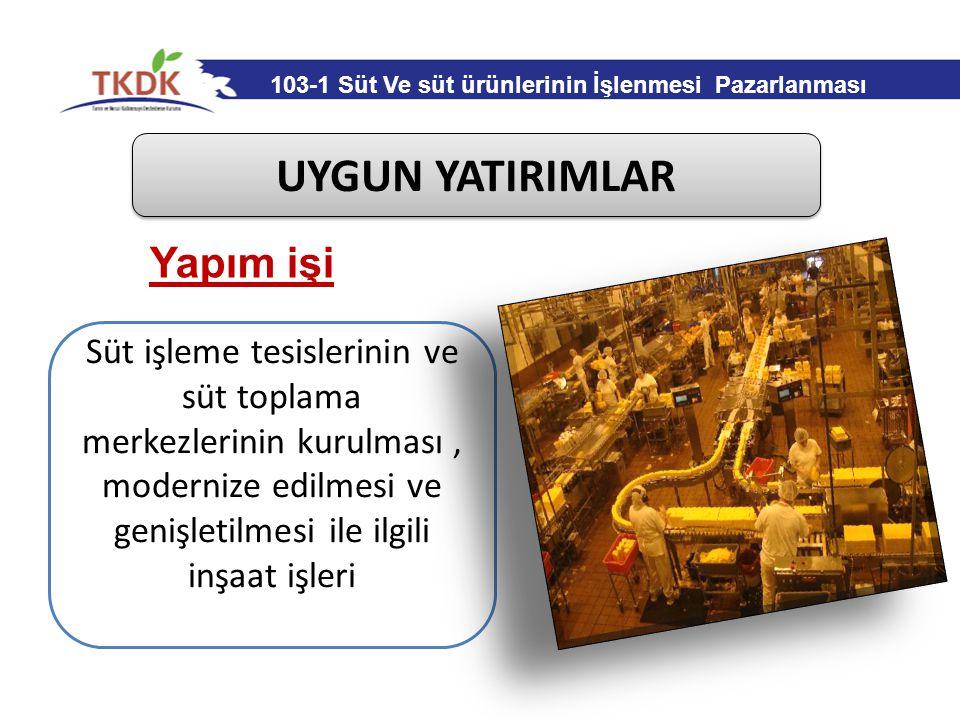UYGUN YATIRIMLAR Çevrenin korunması atıkların işlenmesi için gerekli inşaat işleri Yapım işi 103-1 Süt Ve süt ürünlerinin İşlenmesi Pazarlanması