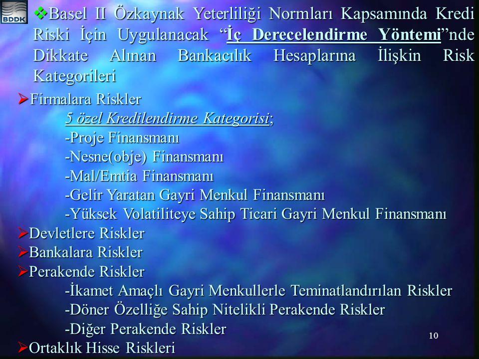 10  Basel II Özkaynak Yeterliliği Normları Kapsamında Kredi Riski İçin Uygulanacak İç Derecelendirme Yöntemi nde Dikkate Alınan Bankacılık Hesaplarına İlişkin Risk Kategorileri  Firmalara Riskler 5 özel Kredilendirme Kategorisi; -Proje Finansmanı -Nesne(obje) Finansmanı -Mal/Emtia Finansmanı -Gelir Yaratan Gayri Menkul Finansmanı -Yüksek Volatiliteye Sahip Ticari Gayri Menkul Finansmanı  Devletlere Riskler  Bankalara Riskler  Perakende Riskler -İkamet Amaçlı Gayri Menkullerle Teminatlandırılan Riskler -Döner Özelliğe Sahip Nitelikli Perakende Riskler -Diğer Perakende Riskler  Ortaklık Hisse Riskleri