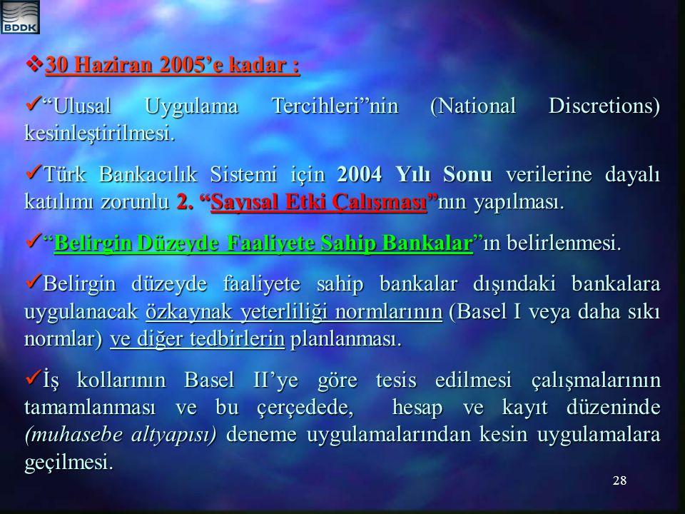 28  30 Haziran 2005'e kadar : Ulusal Uygulama Tercihleri nin (National Discretions) kesinleştirilmesi.