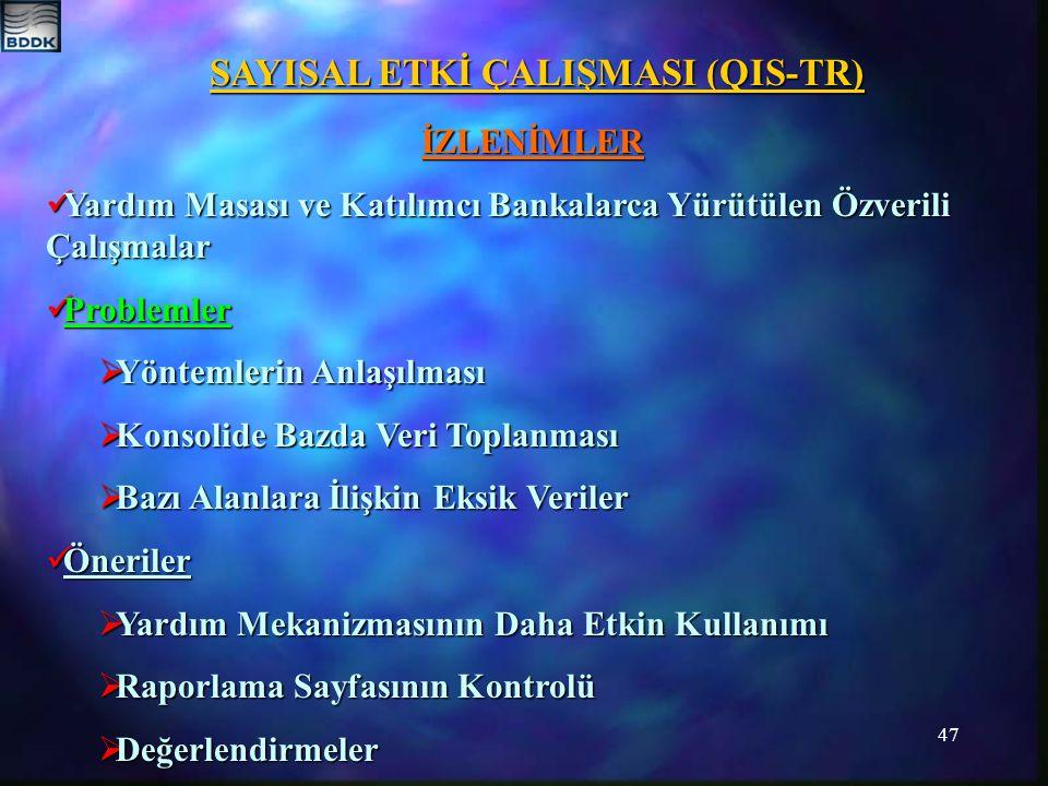 47 SAYISAL ETKİ ÇALIŞMASI (QIS-TR) İZLENİMLER Yardım Masası ve Katılımcı Bankalarca Yürütülen Özverili Çalışmalar Yardım Masası ve Katılımcı Bankalarc