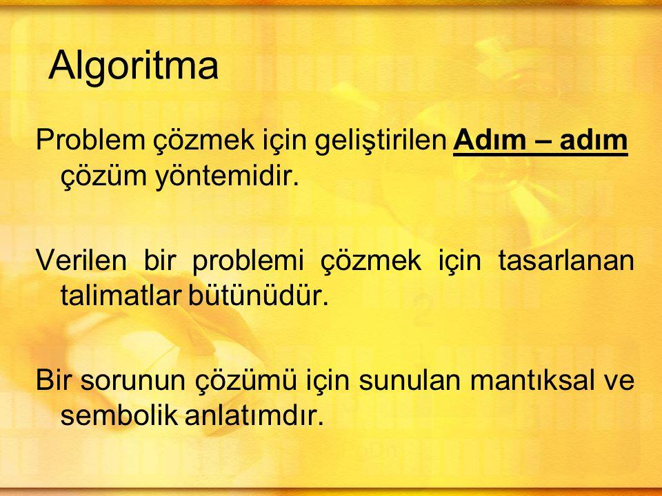 Algoritma çalışmasında iki önemli görev vardır: 1.Belirli bir problemi çözmek için bir algoritma tasarlamak 2.Verilen bir algoritmayı analiz etmek –Bu iki görev birbiriyle ilişkilidir.