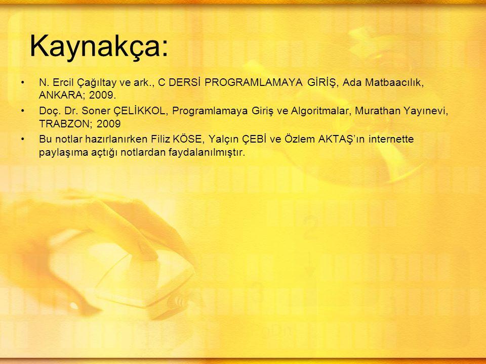 Kaynakça: N. Ercil Çağıltay ve ark., C DERSİ PROGRAMLAMAYA GİRİŞ, Ada Matbaacılık, ANKARA; 2009. Doç. Dr. Soner ÇELİKKOL, Programlamaya Giriş ve Algor