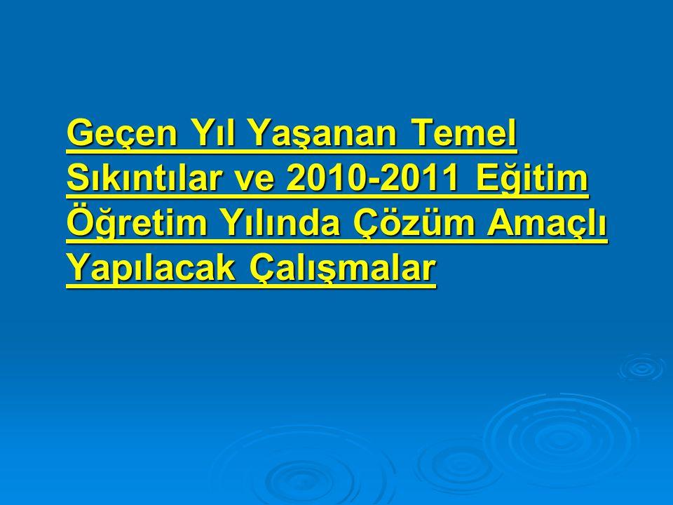 Geçen Yıl Yaşanan Temel Sıkıntılar ve 2010-2011 Eğitim Öğretim Yılında Çözüm Amaçlı Yapılacak Çalışmalar