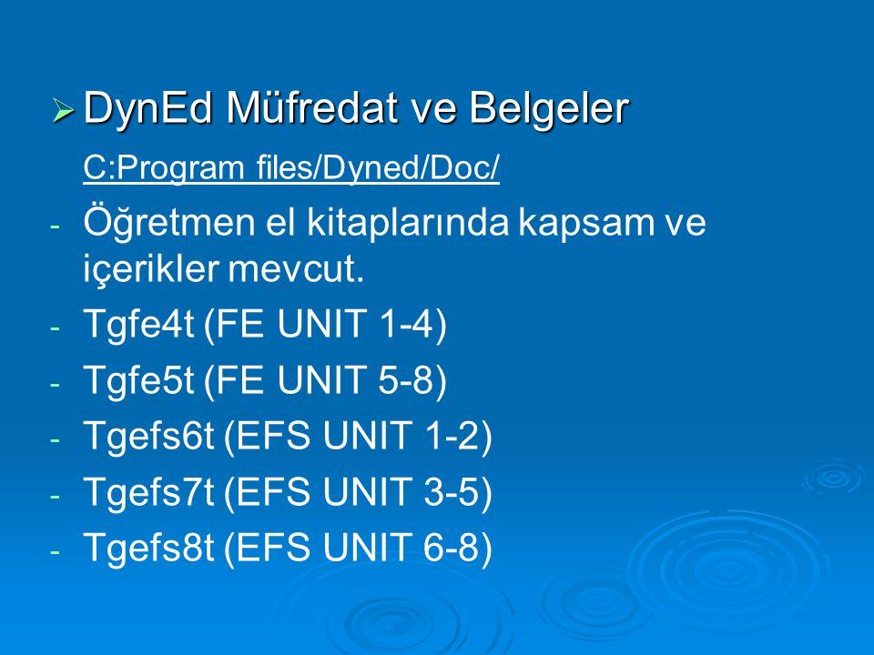  DynEd Müfredat ve Belgeler C:Program files/Dyned/Doc/ - - Öğretmen el kitaplarında kapsam ve içerikler mevcut. - - Tgfe4t (FE UNIT 1-4) - - Tgfe5t (