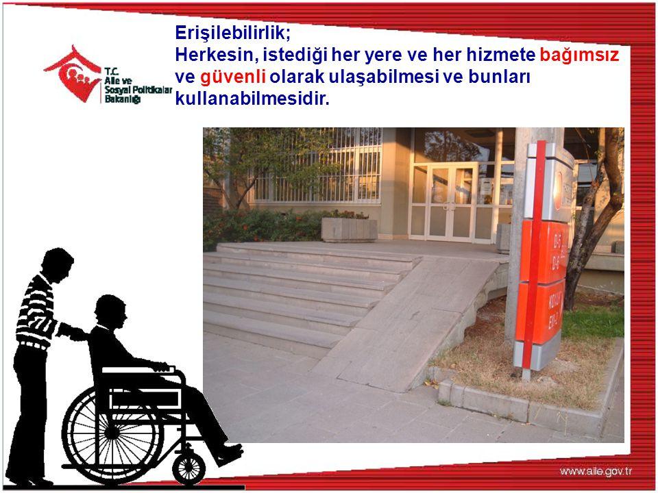Tekerlekli sandalye kullanan bir kişi, evinden çıkıp kamu binasına gitmek istediğinde;