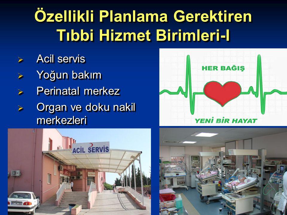 Özellikli Planlama Gerektiren Tıbbi Hizmet Birimleri-I  Acil servis  Yoğun bakım  Perinatal merkez  Organ ve doku nakil merkezleri