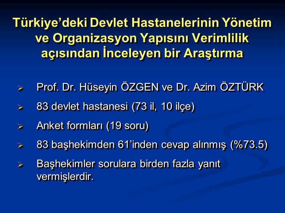 Türkiye'deki Devlet Hastanelerinin Yönetim ve Organizasyon Yapısını Verimlilik açısından İnceleyen bir Araştırma  Prof. Dr. Hüseyin ÖZGEN ve Dr. Azim