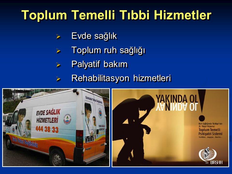 Toplum Temelli Tıbbi Hizmetler  Evde sağlık  Toplum ruh sağlığı  Palyatif bakım  Rehabilitasyon hizmetleri