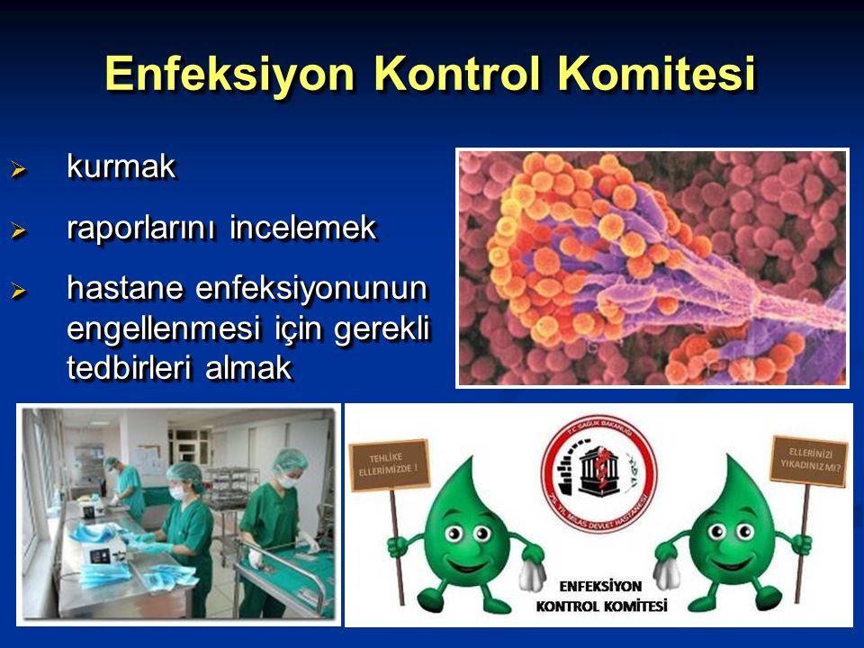 Enfeksiyon Kontrol Komitesi  kurmak  raporlarını incelemek  hastane enfeksiyonunun engellenmesi için gerekli tedbirleri almak