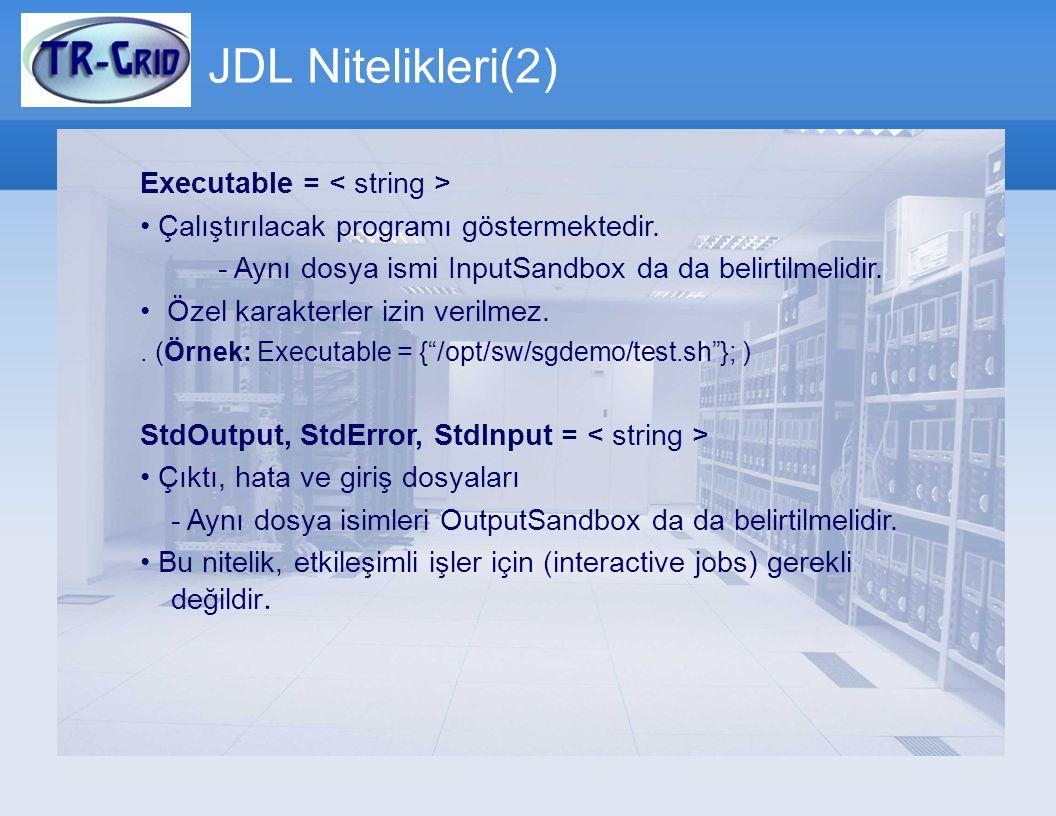 JDL Nitelikleri(2) Executable = Çalıştırılacak programı göstermektedir. - Aynı dosya ismi InputSandbox da da belirtilmelidir. Özel karakterler izin v