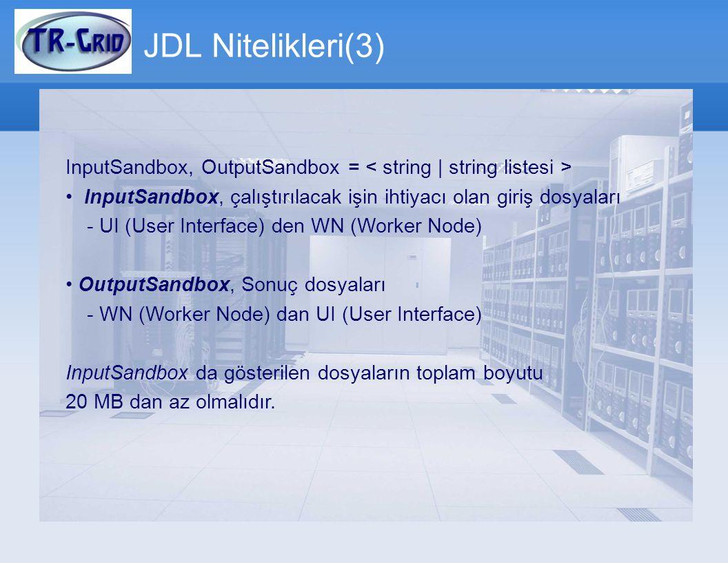 JDL Nitelikleri(3) InputSandbox, OutputSandbox = InputSandbox, çalıştırılacak işin ihtiyacı olan giriş dosyaları - UI (User Interface) den WN (Worker
