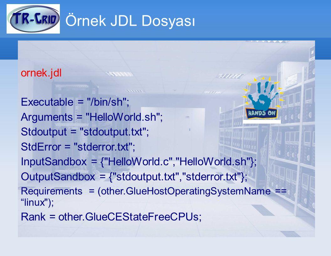 Örnek JDL Dosyası ornek.jdl Executable = /bin/sh ; Arguments = HelloWorld.sh ; Stdoutput = stdoutput.txt ; StdError = stderror.txt ; InputSandbox = { HelloWorld.c , HelloWorld.sh }; OutputSandbox = { stdoutput.txt , stderror.txt }; Requirements = (other.GlueHostOperatingSystemName == linux ); Rank = other.GlueCEStateFreeCPUs;