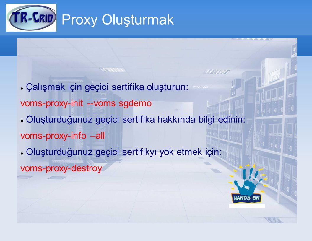 Proxy Oluşturmak Çalışmak için geçici sertifika oluşturun: voms-proxy-init --voms sgdemo Oluşturduğunuz geçici sertifika hakkında bilgi edinin: voms-proxy-info –all Oluşturduğunuz geçici sertifikyı yok etmek için: voms-proxy-destroy