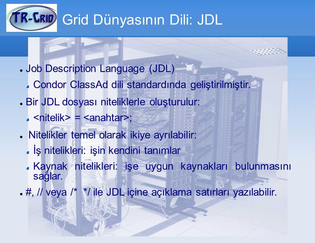 JDL Dosyası JDL parçalayıcının(parser) hatasız bir şekilde çözümleme yapması için gerekli nitelikler: Tüm iş tanımlar köşeli parantezler içinde olmalıdır.