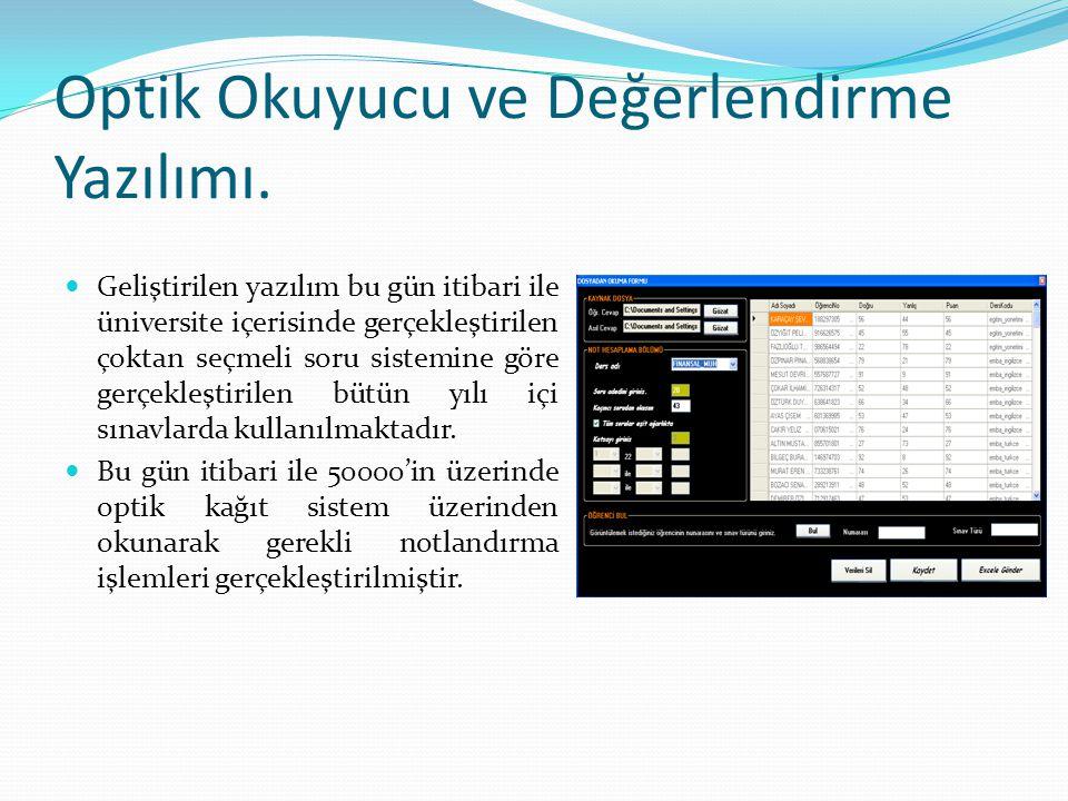 Optik Okuyucu ve Değerlendirme Yazılımı. Geliştirilen yazılım bu gün itibari ile üniversite içerisinde gerçekleştirilen çoktan seçmeli soru sistemine