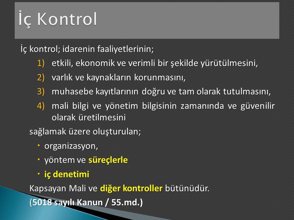 İç kontrol; idarenin faaliyetlerinin; 1)etkili, ekonomik ve verimli bir şekilde yürütülmesini, 2)varlık ve kaynakların korunmasını, 3)muhasebe kayıtla