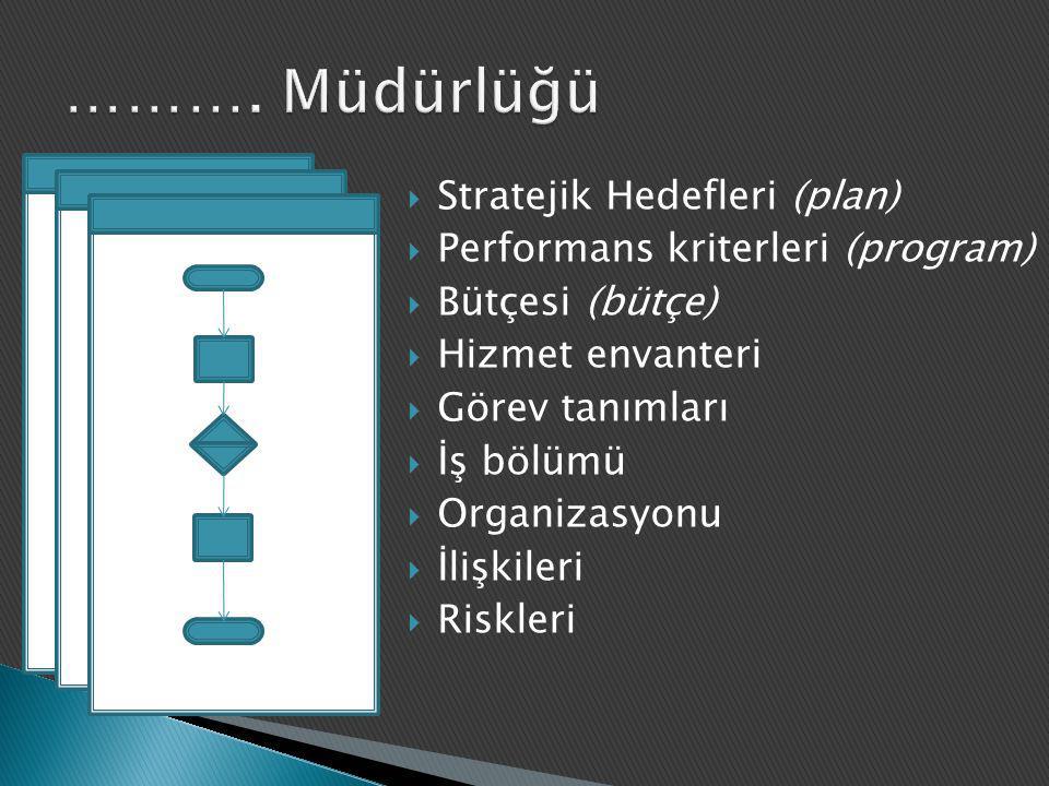  Stratejik Hedefleri (plan)  Performans kriterleri (program)  Bütçesi (bütçe)  Hizmet envanteri  Görev tanımları  İş bölümü  Organizasyonu  İl