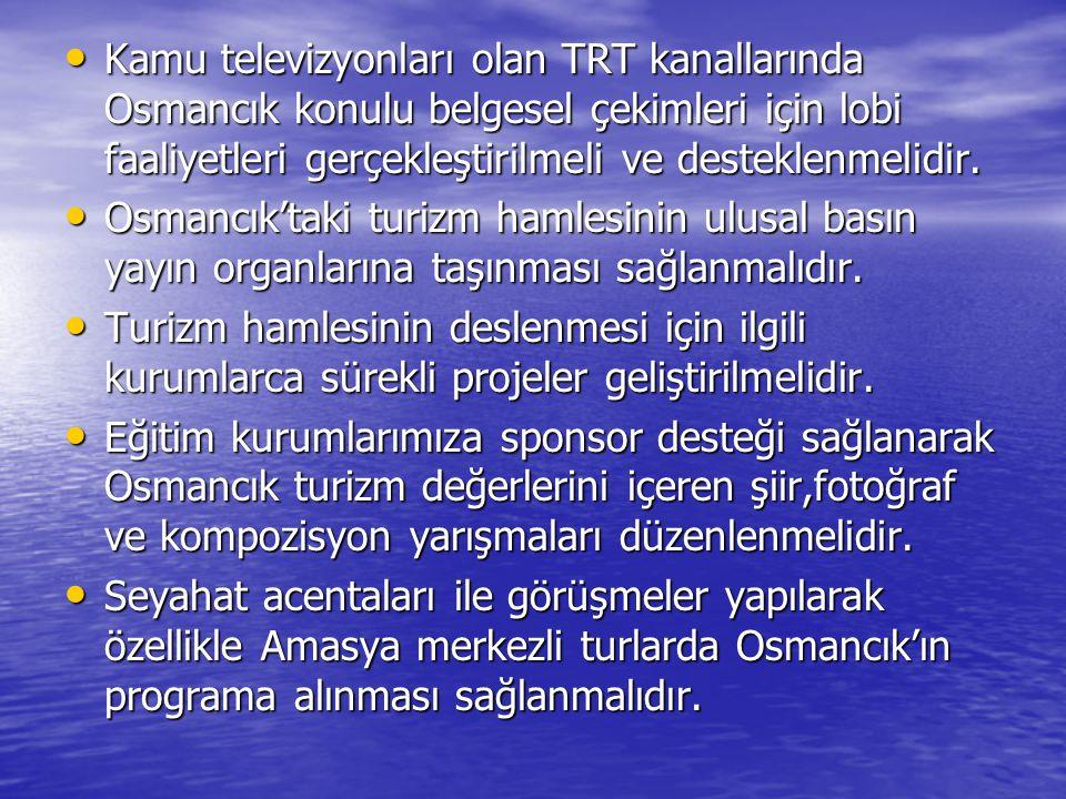 Kamu televizyonları olan TRT kanallarında Osmancık konulu belgesel çekimleri için lobi faaliyetleri gerçekleştirilmeli ve desteklenmelidir. Kamu telev