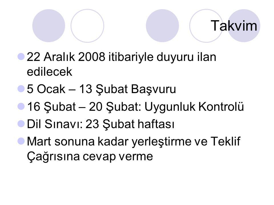 Takvim 22 Aralık 2008 itibariyle duyuru ilan edilecek 5 Ocak – 13 Şubat Başvuru 16 Şubat – 20 Şubat: Uygunluk Kontrolü Dil Sınavı: 23 Şubat haftası Mart sonuna kadar yerleştirme ve Teklif Çağrısına cevap verme