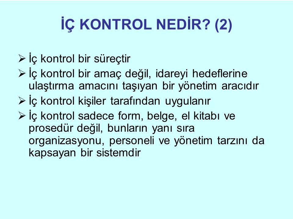İÇ KONTROL NEDİR? (2)  İç kontrol bir süreçtir  İç kontrol bir amaç değil, idareyi hedeflerine ulaştırma amacını taşıyan bir yönetim aracıdır  İç k