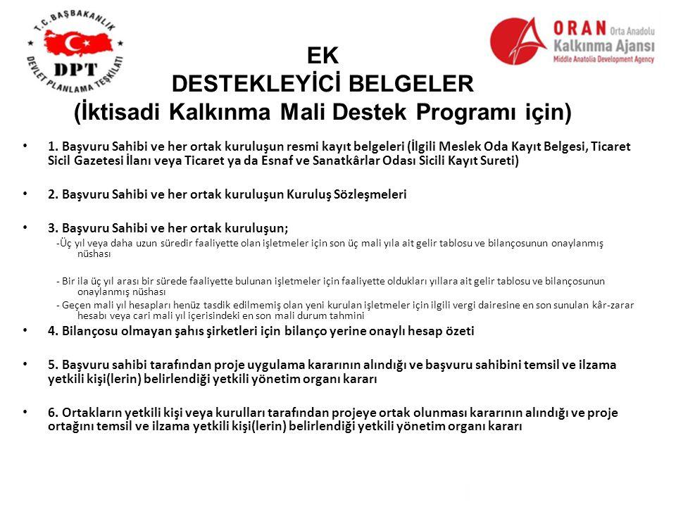 EK DESTEKLEYİCİ BELGELER (İktisadi Kalkınma Mali Destek Programı için) 1.